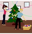 Young family decorate Christmas tree vector image vector image