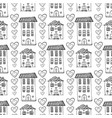 hand drawn cute houses seamless pattern doodle vector image