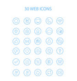 30 blue color web icons with hollow round vector image