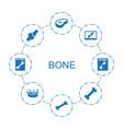 8 bone icons vector image vector image
