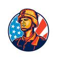 American Serviceman Soldier Flag Retro vector image vector image