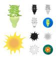bio and ecology cartoonblackflatmonochrome vector image vector image