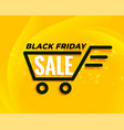 black friday shopping cart sale background vector image vector image