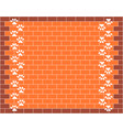 brick wall with animal paw prints background vector image vector image