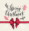 calligraphic text merry christmas with snowflakes vector image vector image