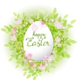 card Happy Easter Floral frame with leaves vector image vector image