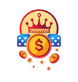 casino modern club promotional logotype with royal vector image vector image