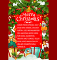 christmas card of winter holiday gift and garland vector image vector image