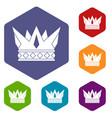 cog crown icons set hexagon vector image vector image