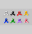 colorful 3d cancer awareness ribbon isolated set vector image vector image