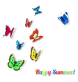 Colorful butterflies with shadows vector image
