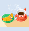 cup of coffee and croissant vector image