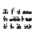 daily lifestyle icon man or woman daily routine vector image vector image