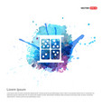 dice icon - watercolor background vector image
