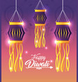diwali lanterns hanging with lights decoration vector image vector image