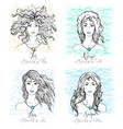 four zodiac signs beauty girls vector image vector image