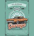 garage repairing service vintage car vector image vector image