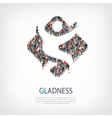 gladness people sign 3d vector image vector image