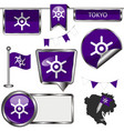 glossy icons with flag of tokyo vector image vector image