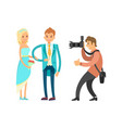 groom in blue suit and bride wearing wedding dress vector image vector image