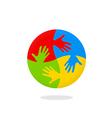 hand circle colorful logo vector image
