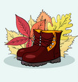 hand drawn autumn boots against the background of vector image vector image