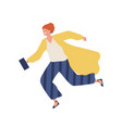 happy woman in stylish clothes moving in a hurry vector image