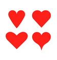 heart shape love icon red set vector image vector image