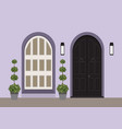 house door front with doorstep and window lamp vector image vector image