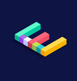 letter e isometric colorful cubes 3d design vector image vector image