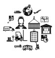 logistic icons set simple style vector image vector image