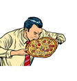 man eating pizza isolated on white background vector image vector image