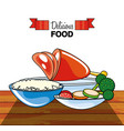 meat leg with rice and vegetables vector image