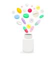 medicine pills in white bottle vector image vector image