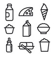 milk products icon set vector image vector image