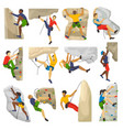 mountain climbing climber climbs rock wall vector image