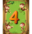 Number four with 4 monkeys on the tree vector image vector image