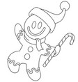 outlined gingerbread man with santa hat vector image vector image