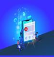 people work at huge smartphone developing app vector image