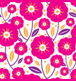 pink folk flowers and leaves seamless pattern vector image