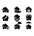 Property insurance icons set vector image vector image