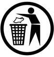 put rubbish in the bin sign vector image vector image