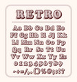 retro font on light red background alphabet vector image