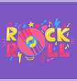 rock n roll hand drawn lettering vector image