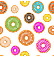 seamless donut cake set pattern vector image