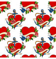 seamless pattern old school tattoo style hearts vector image