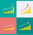 set growth graphs with stacks dollar coins vector image