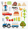Set of farmer element Farmer and Farm animals vector image vector image