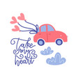 small car with red heart balloons in doodle flat vector image vector image