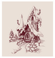 snow castle drawing fantasy house vector image vector image